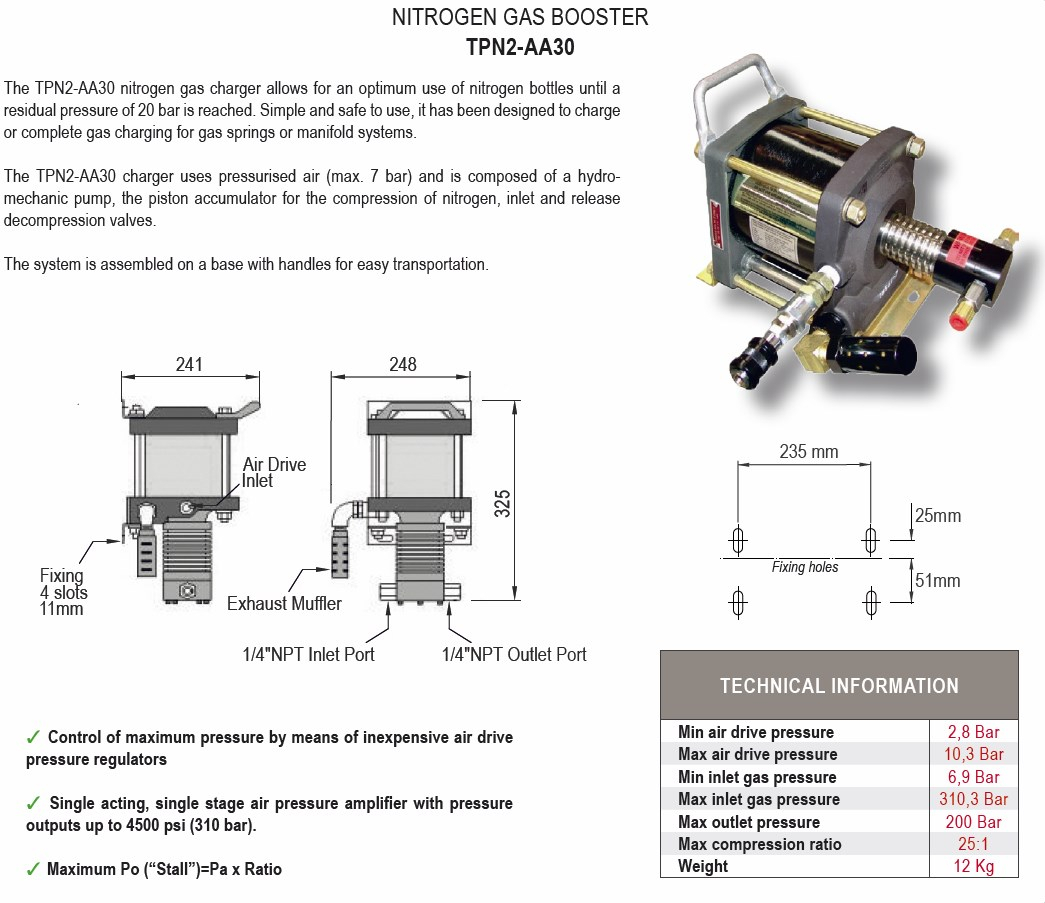 TPN2-AA30 Booster nitrogen gas charger
